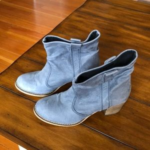 Shoes - Super Soft Blue Leather Slouch Boot